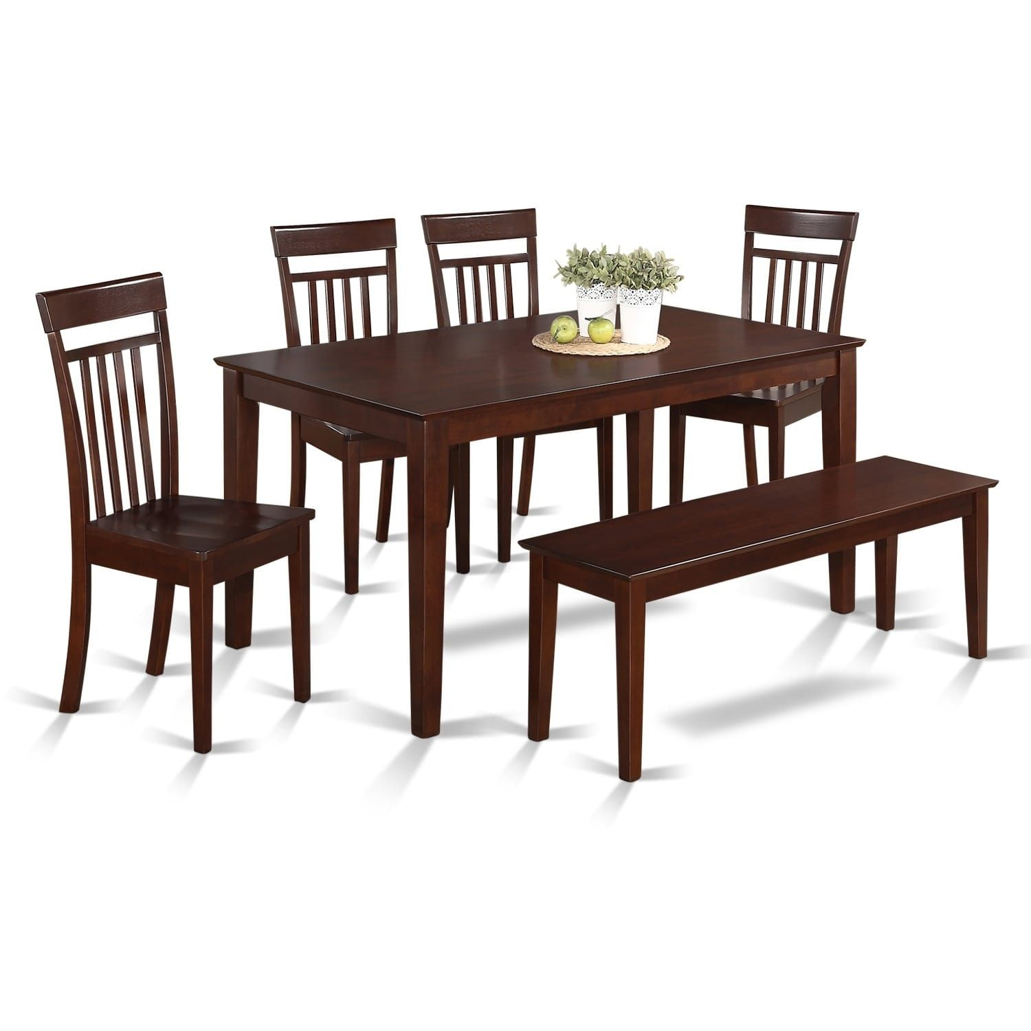 CAP6S-MAH-W 6 Pc Kitchen set - Table and 4 Kitchen Chairs and 1 ...