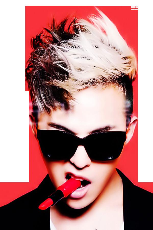 71ebfd4b1b61e Big Bang G-Dragon Blonde Black Medium Messy Textured Fauxhawk