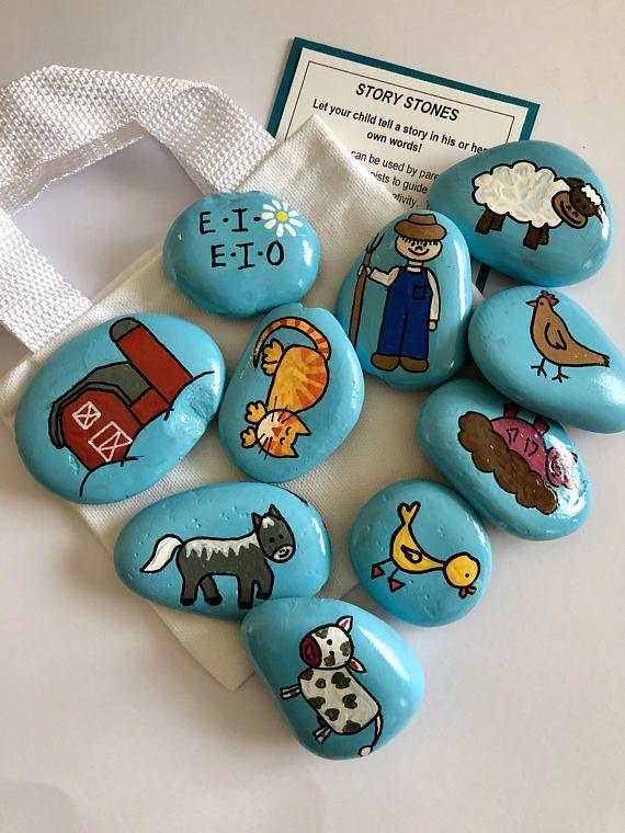 Alte MacDonald hatte eine Farm Geschichte Steine, frühe Alphabetisierung Werkzeug, Kindergarten Reime, Lesen Lehrer Geschenk, Weihnachtsgeschenk, Geschenk für Kinder, Geschichte Felsen