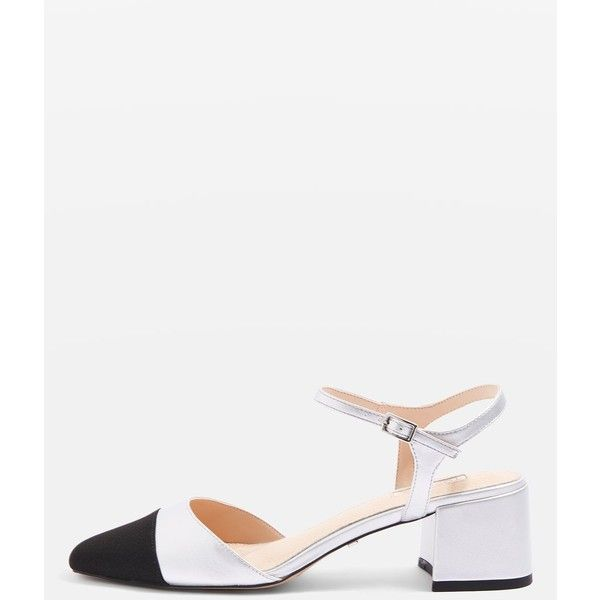 278b5220ed TopShop Jolene Toe Cap Block Heels (17.745 HUF) ❤ liked on Polyvore  featuring shoes, pumps, silver, mid-heel pumps, mid heel pumps, round toe  pumps, ...