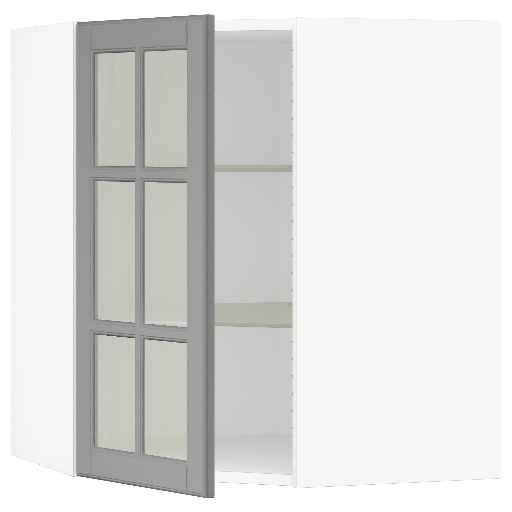 IKEA SEKTION White, Bodbyn Gray Corner wall cabinet with ...