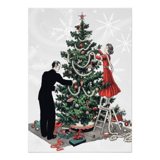 Retro Christmas Tree Card Created From A Vintage 1940s Illustration Of A Couple Decorating A C Retro Christmas Tree Retro Christmas Christmas Tree Invitations
