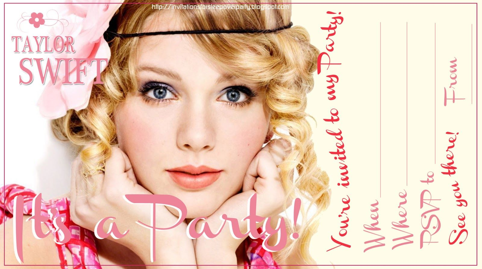 Beau Taylor Swift   Free To Print   Party Invitation Customisable   Just Fill In  The Blanks