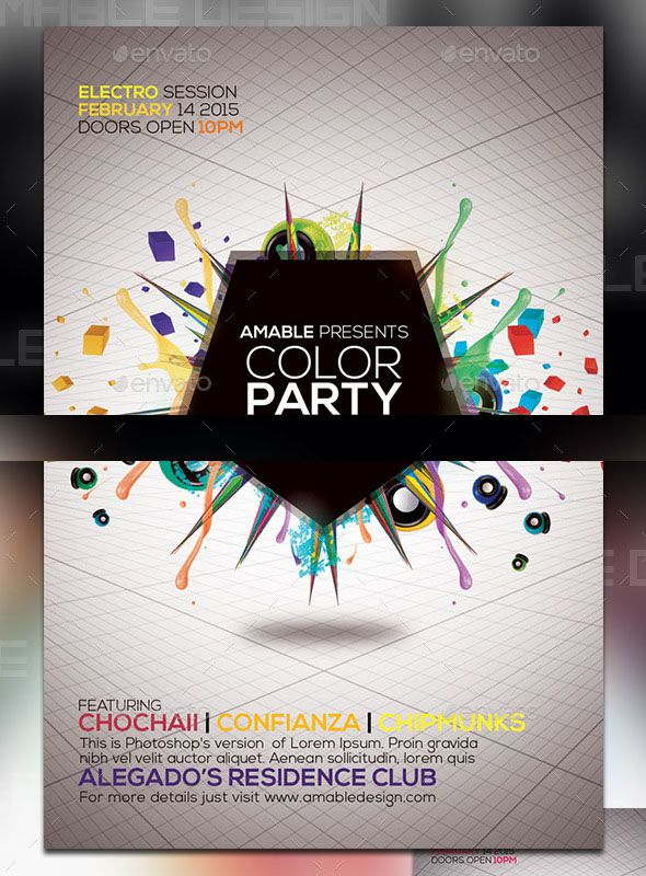 Color Party Flyer This flyer is suitable for parties and events - party flyer