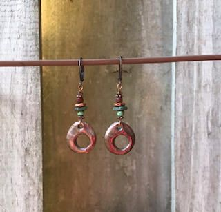 Antique Copper Earrings Dangle Earrings Bohemian Earrings Turquoise Earrings Blue Earrings Earthy Earrings Boho Jewelry by KesaliSkye on Etsy