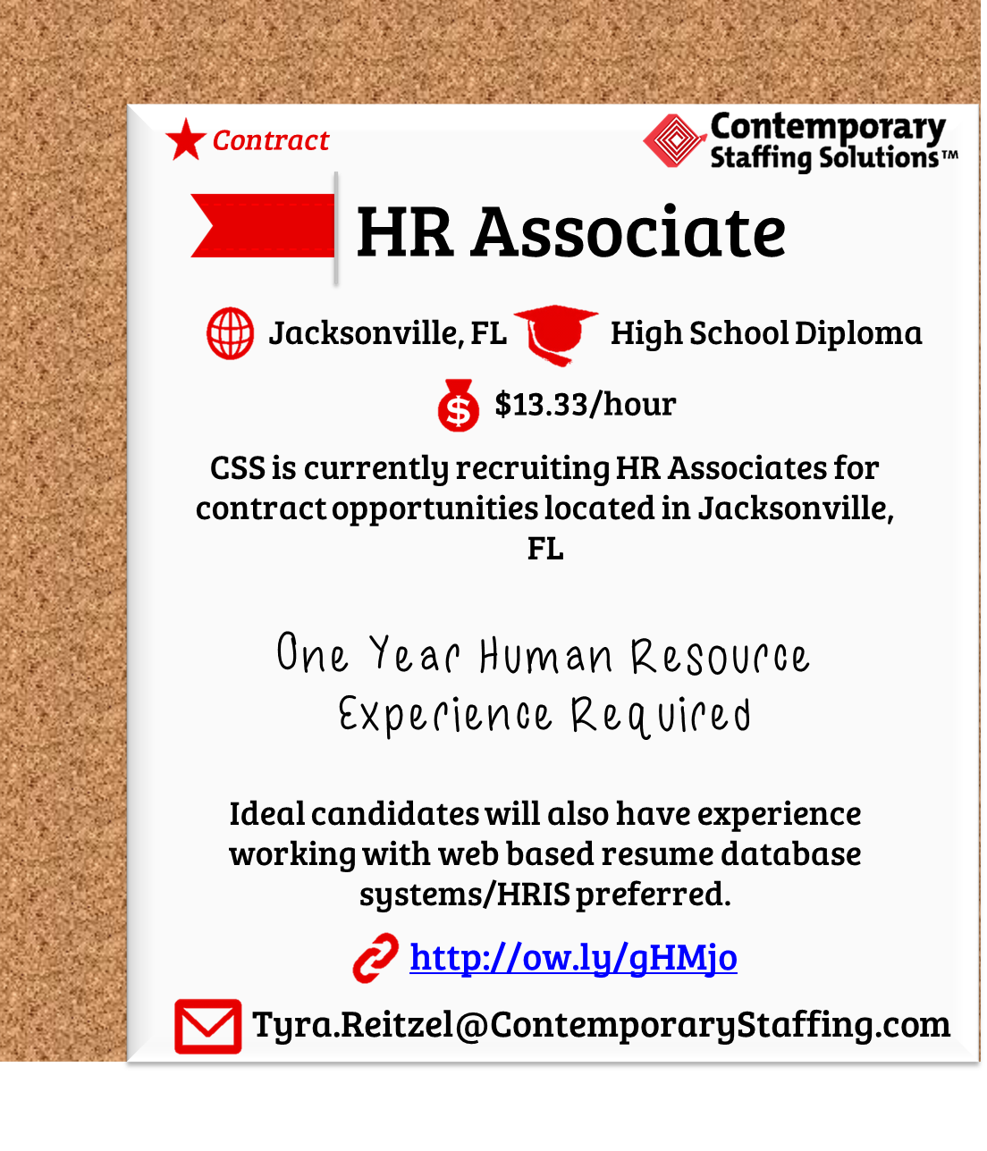 CSS is #hiring HR Associate in Jacksonville, FL l $13.30/hr l Email ...