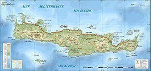 Carte de la Crête (Grèce) | Iles de la Crête et de Santorin