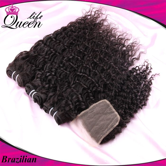 Brazilian Curly Ms Lula 1 Piece Lace Closure With 3pcs Hair Bundles 4pcs Lot Brazilian Virgin Hair Deep Wave Curly Human Hair