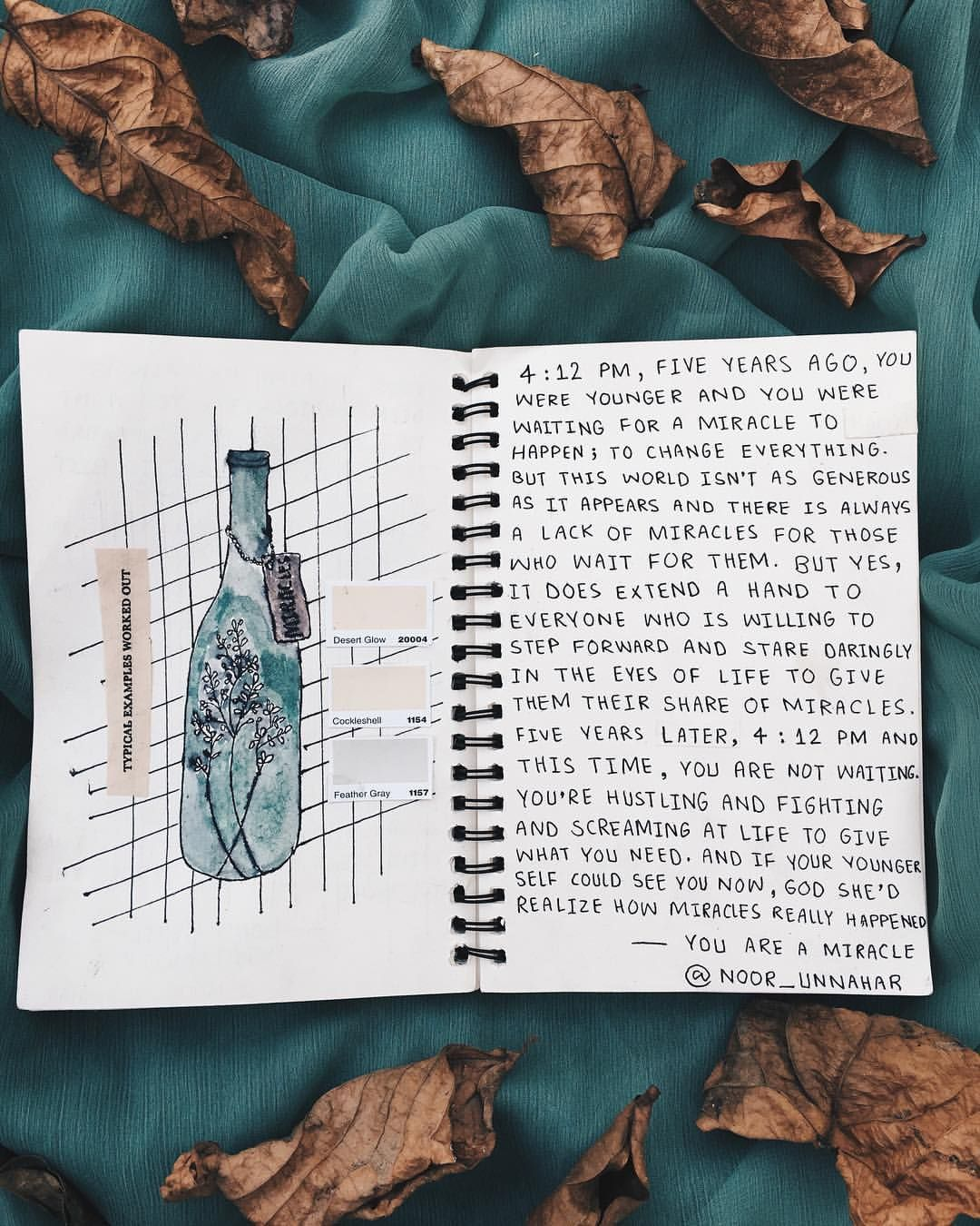 you are a miracle// writing journal entry 66 by noor