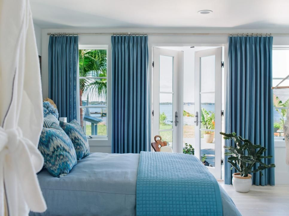 Layers Of Blue And White Hues Inspire The Decor In The Bedroom Of HGTVs  Dream Home