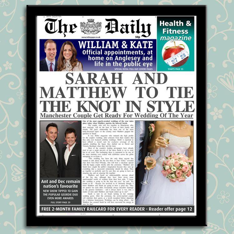 38 Year Wedding Anniversary Gift: Personalised Newspaper Wedding Or Anniversary Gift, From
