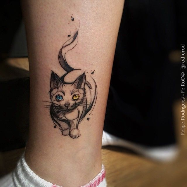 45 Cat Tattoos For True Cat Lovers With Images Ankle Tattoo Cute Tattoos Cat Tattoo Designs