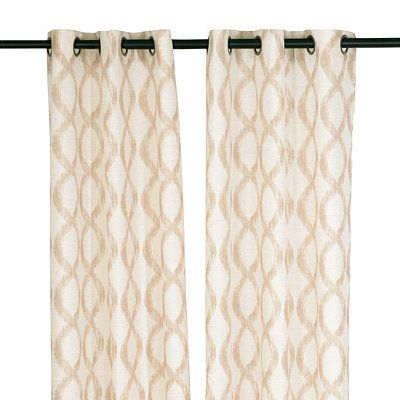 Kirkland's - Natural Ogee Curtain Panel Set, 84 in. $34.99 Like the light background with a large tan/brown design.  Think this will look good with the dark wood shades.