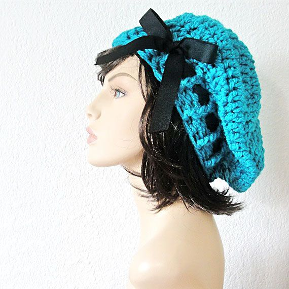School Girl Beret Turquoise Beret Hand Crocheted by kanokwalee ...