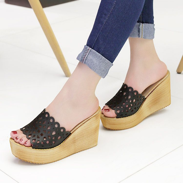 Free shipping 2015 high heeled sandals platform wedges sandals cutout  women's shoes beach slippers black and