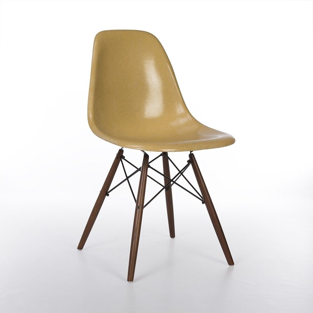 Eames Dsw Original Herman Miller Dark Ochre Eames Dsw Side Shell Chair