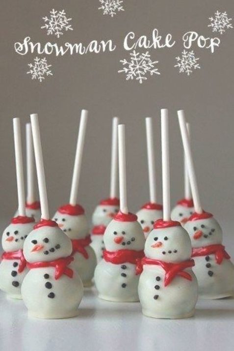 Snowman Cake Pops - Best Christmas Desserts - Recipes and Christmas Treats to Try this Year! Try these amazing and cute easy Christmas dessert recipes to have a great party for your kids, friends, and family! Cupcakes, cakes, sweet bites, pies, brownies, home-made Christmas popcorn, Christmas cookies and other delights.