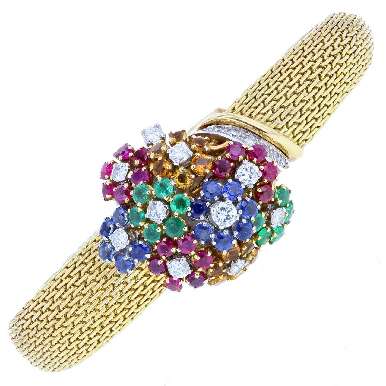 Gubelin Lady's Yellow Gold Multigem Cocktail Wristwatch