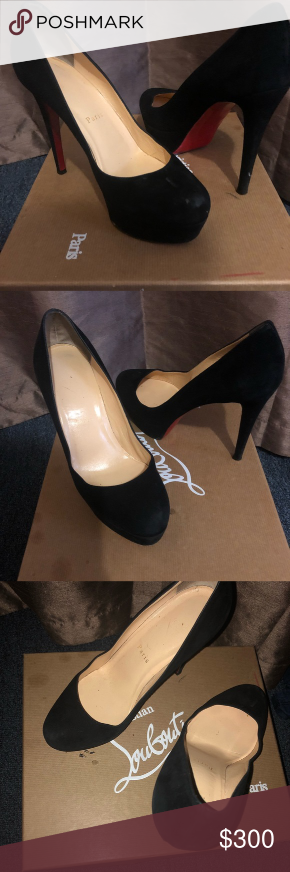 sale retailer dd857 4cd03 Pre owned Cristian Louboutin Suede Black Pumps . Very ...