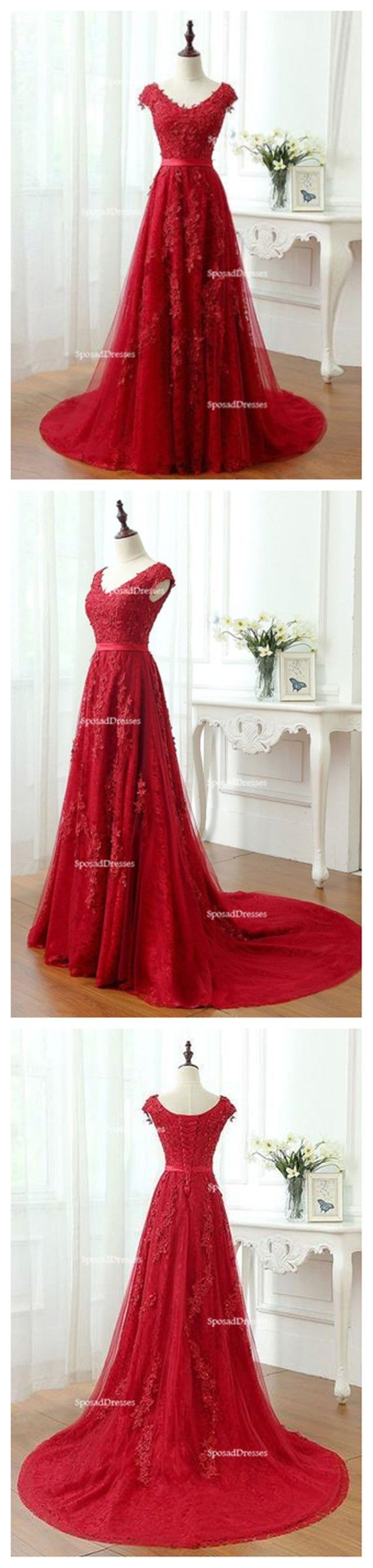 Short sleeve scoop neckline red lace beaded long evening prom