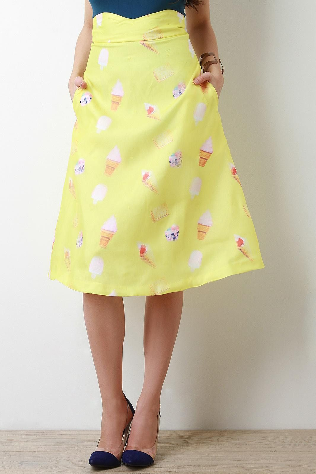 Ice Cream Treat Print A-Line Midi Skirt