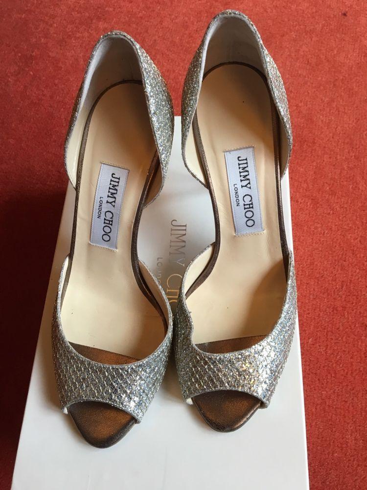 70c05bd8190 Jimmy Choo 36  6 Womens Silver Glitter Pumps Shoes ITALY peep toe  fashion