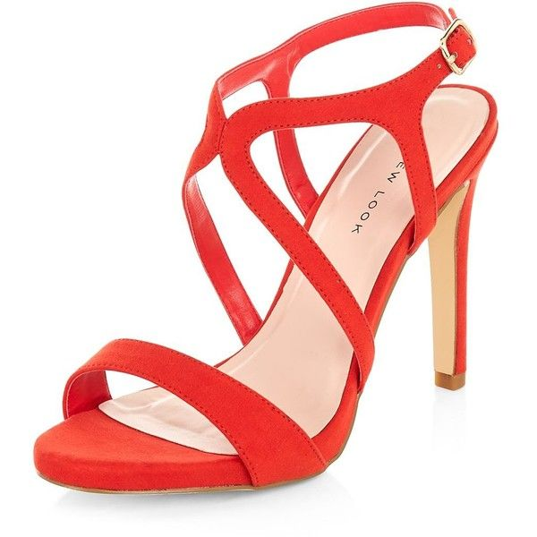 Red Caged Ankle Strap Sandals (€27) ❤ liked on Polyvore featuring shoes, sandals, red, famous footwear, red shoes, caged shoes, ankle strap high heel sandals and gladiator sandals