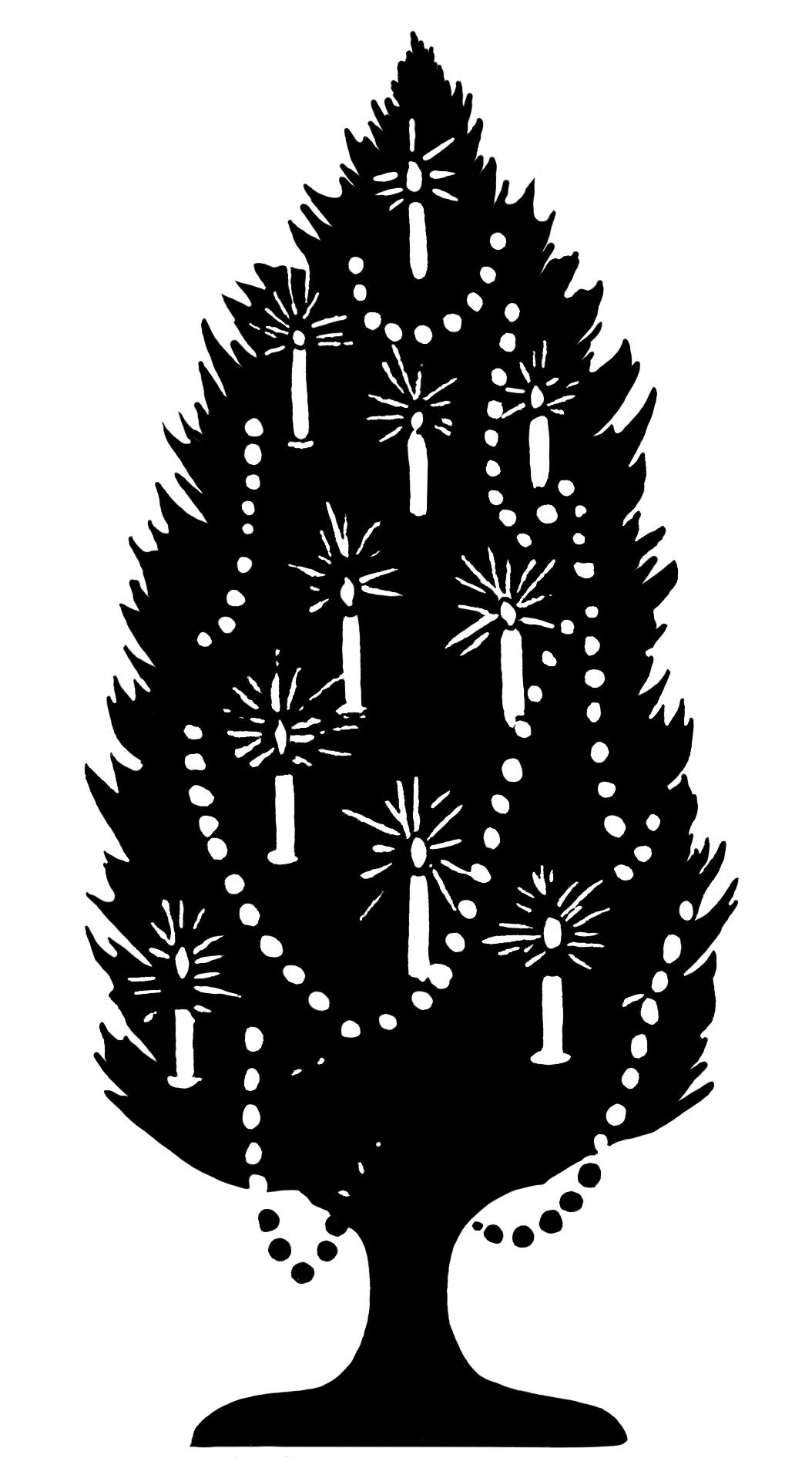 old fashioned Christmas tree, tree decorated with candles, black and ...