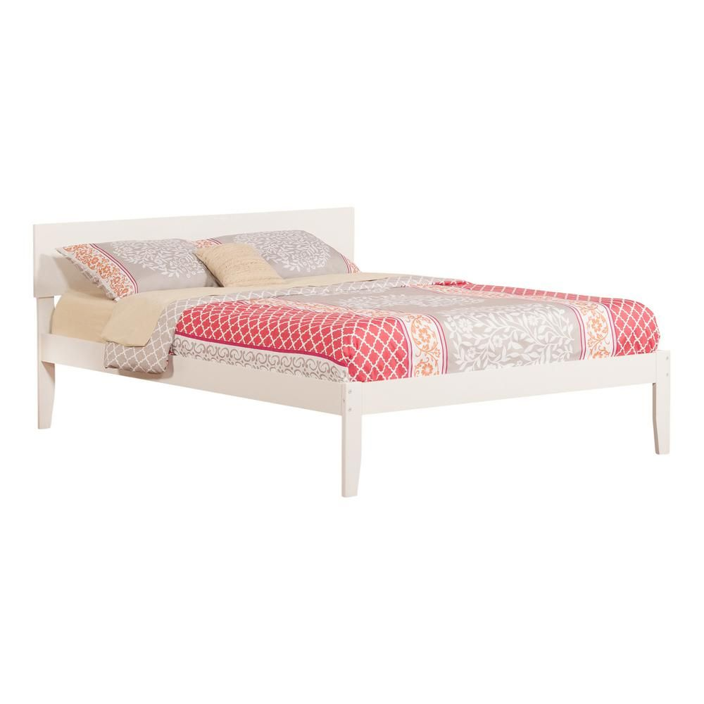 Atlantic Furniture Orlando White Queen Platform Bed With Open Foot