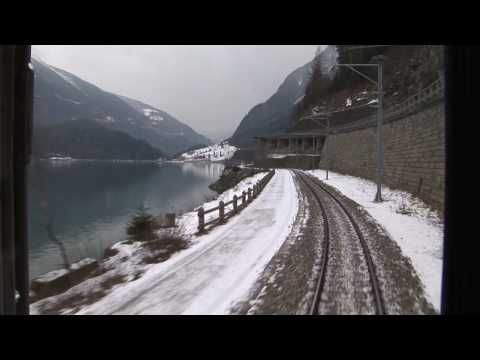 HD Train scenery from Tirano, Italy to St Moritz Christmas day part
