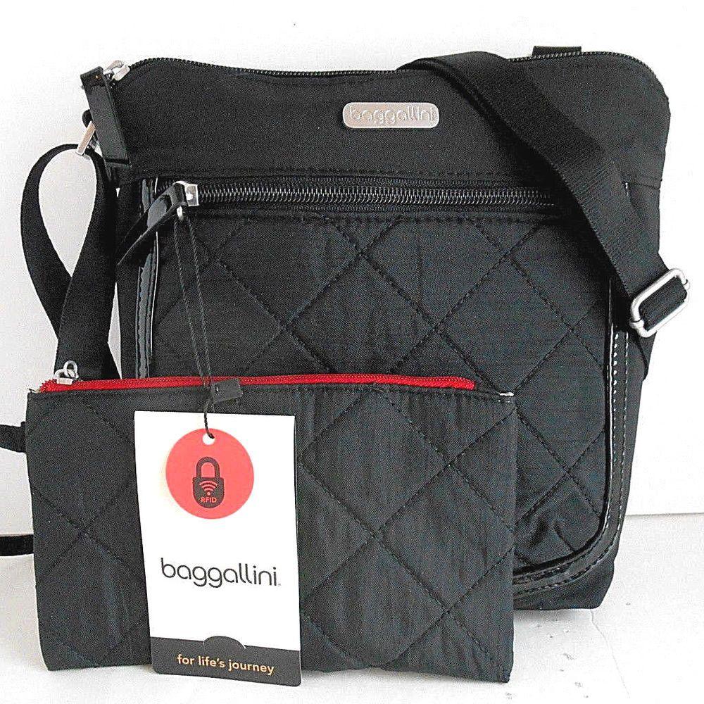 edbdc219ea NEW BAGGALLINI Pocket Crossbody Shoulder Bag   Wristlet Black Quilt    Patent  Baggallini  MessengerCrossBody