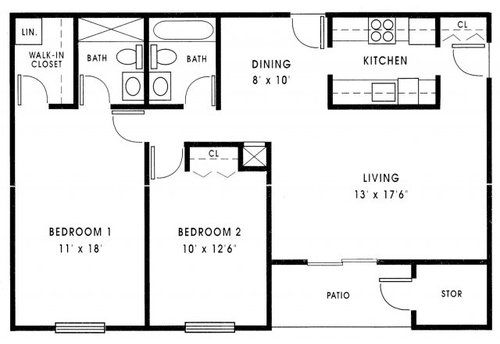 2 Bedroom House Plans Under 1000 Sq Ft 3 Bedroom 2 Bathroom Apartments For Rent Cottage Floor Plans Small House Floor Plans Small Cottage Plans