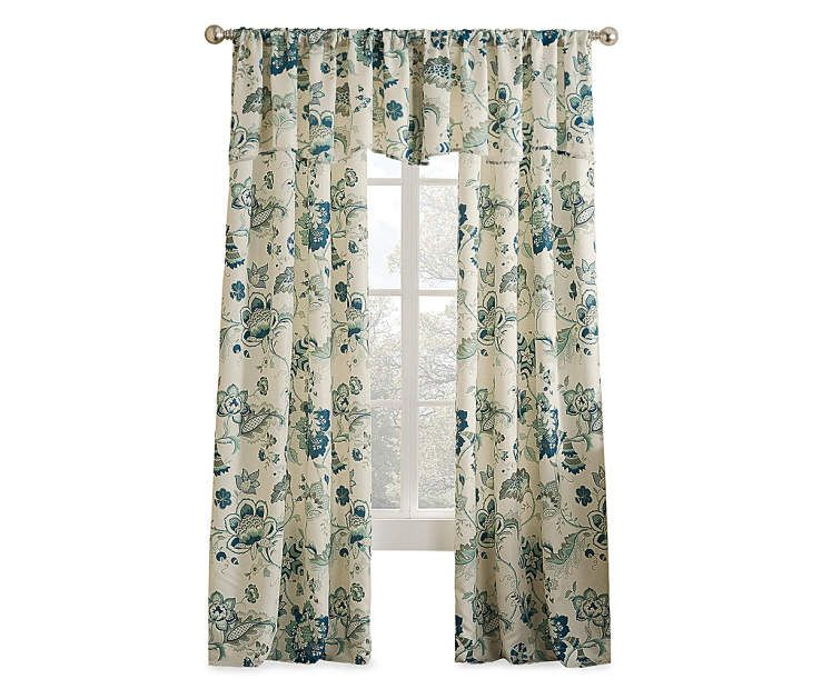 Living Colors Jacobean Blue Floral Curtain Panels And Valance