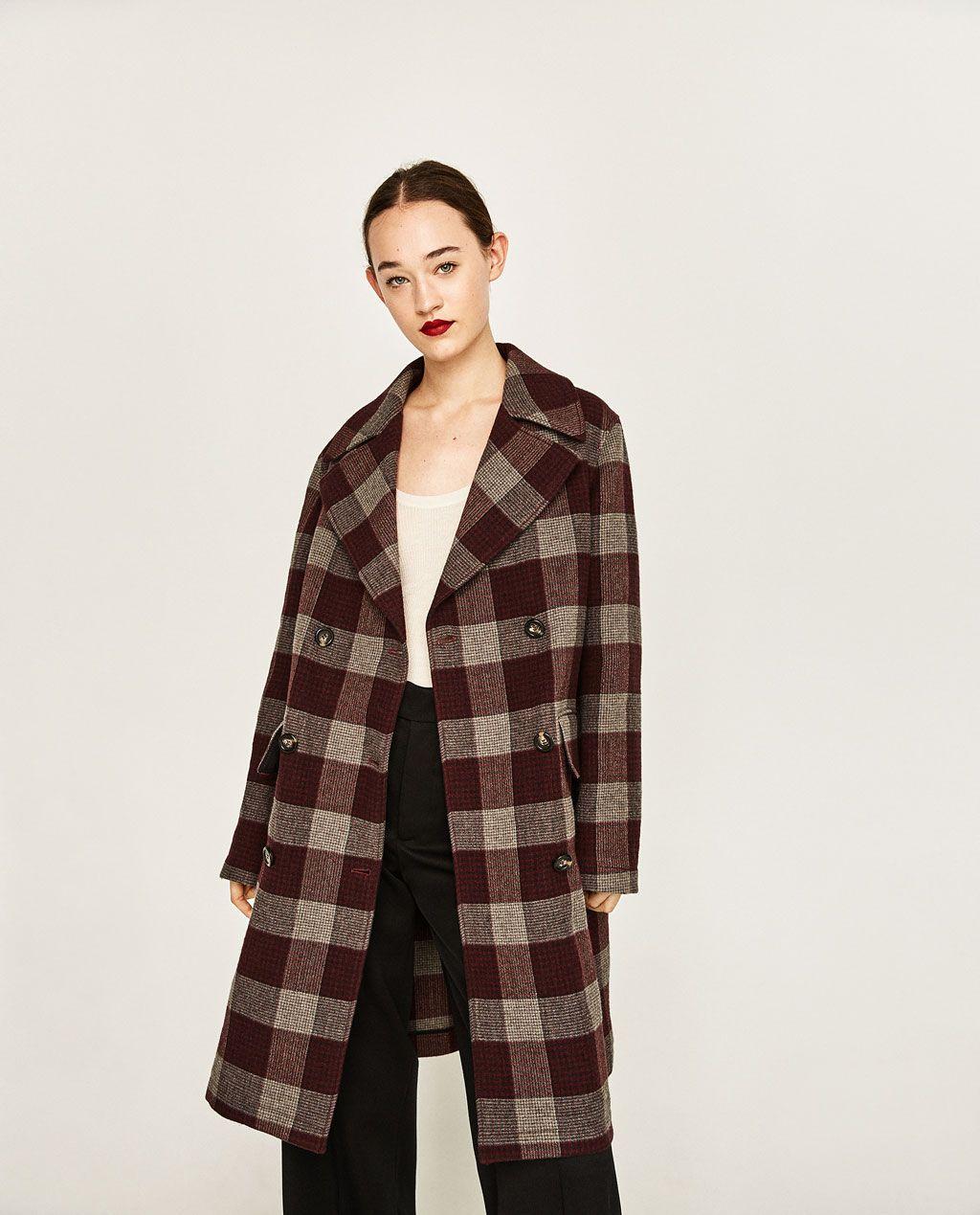 Zara Abrigo Abrigo Mujer Gris Gris Cuadros UYn8Wv