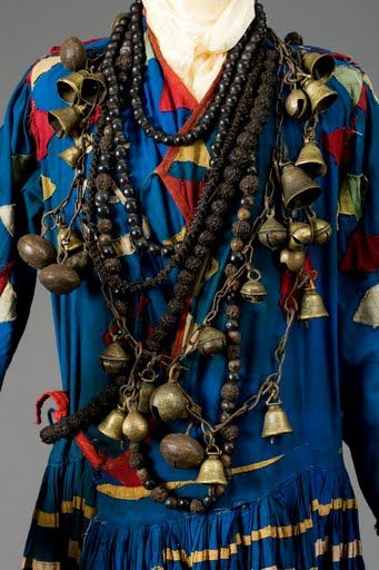 Detail of shamon necklace with brass bells Western Nepal