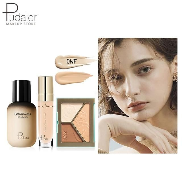 Pudaier Face Foundation Make-up Set Liquid Foundation Creme Matt Highlighter Base Gesicht ALL Concealer Cosmetic Professional Base – 0WF
