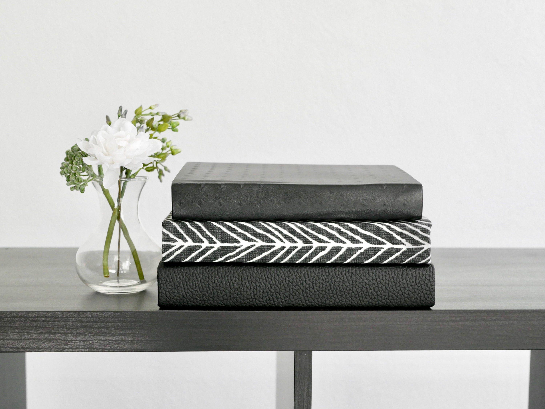 Black Fabric Covered Decorative Books / Bookshelf Decor ...