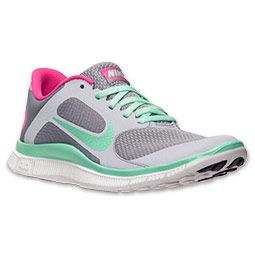 cheap for discount 768f9 75ab0 Women s Nike Free 4.0 V3 Reflective Running Shoes   FinishLine.com    Stealth Green Glow Pink Foil