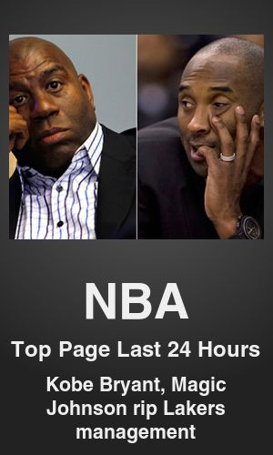 Top NBA link on telezkope.com. With a score of 1067. --- Kobe, Magic challenge Lakers' management. --- #topnbalinks --- Brought to you by telezkope.com - socially ranked goodness