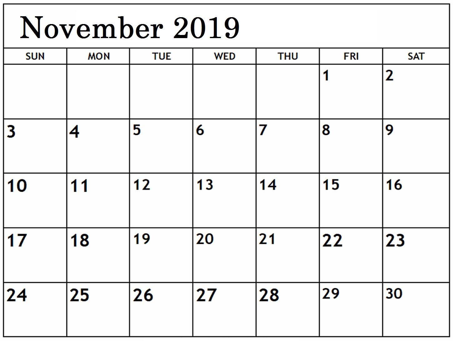 Editable November 2019 Calendar Printable Template Monthly
