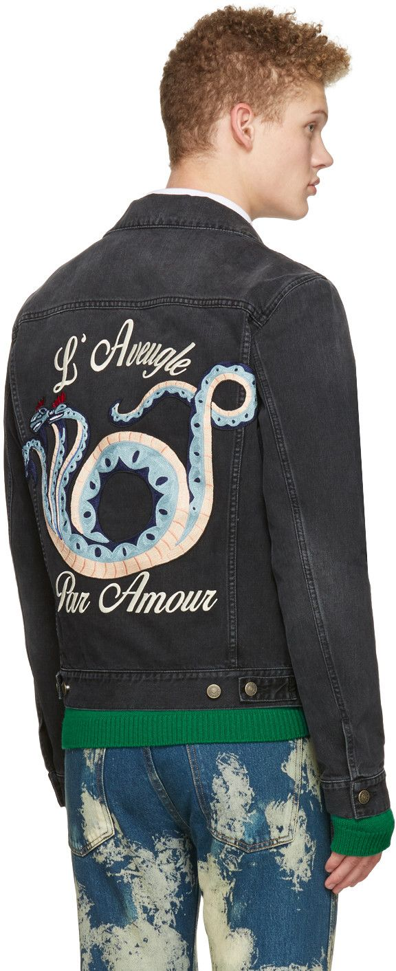 cc909aaa6 Gucci: Black Denim 'L'Aveugle Par Amour' Jacket   SSENSE ...