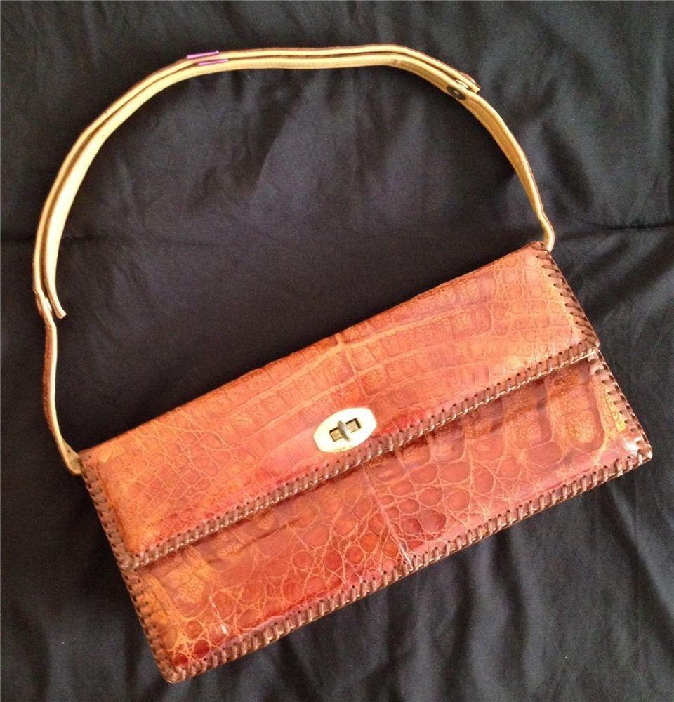 Etco Alligator Handbag Purse Brown 1940 S Vintage Made In Florida Size Medium Etcoevergladestradingcompany