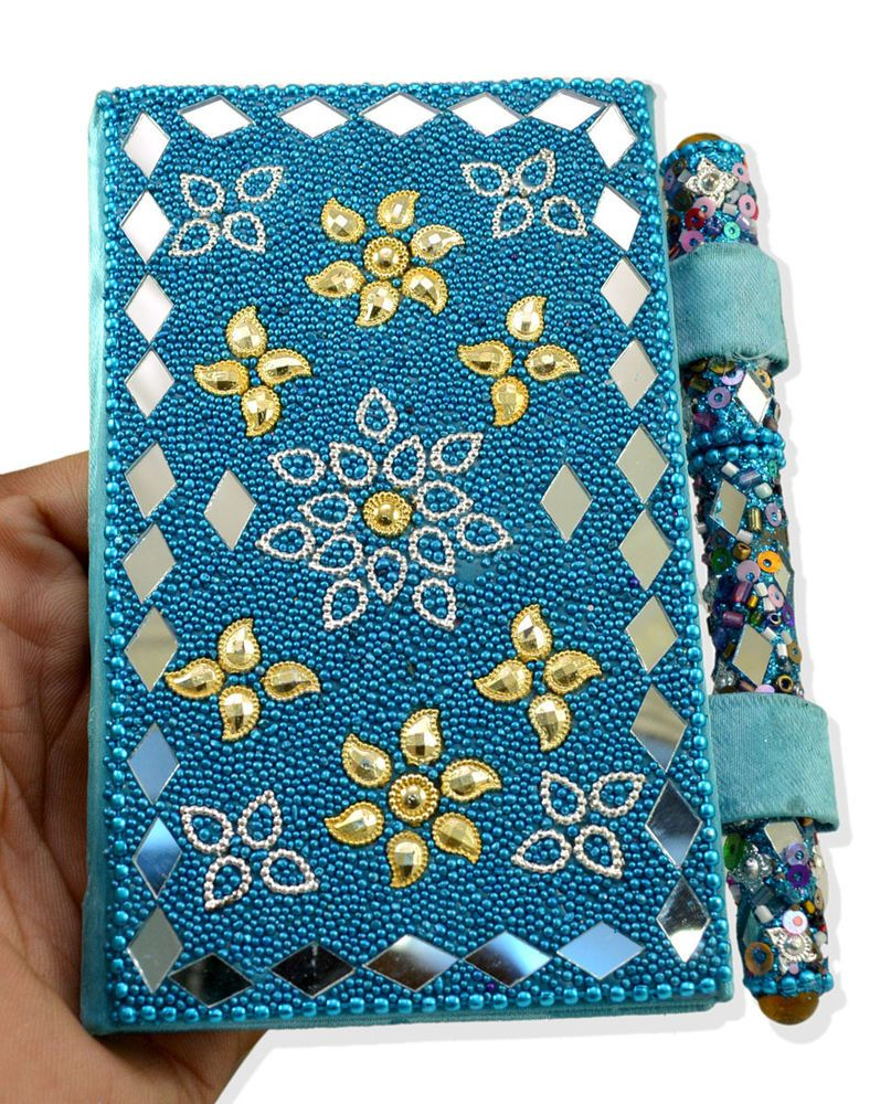 Blue Indian Home Decor Lac Beaded Diary Pen USA Designer Mirror