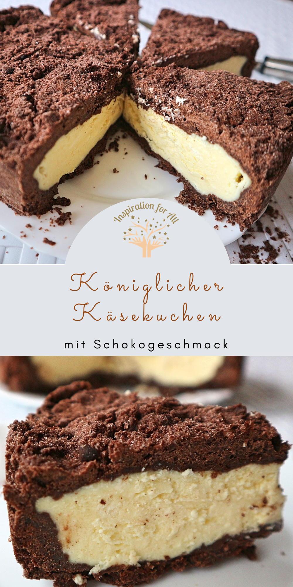 Königlicher Käsekuchen mit Schoko-Mürbeteig – sehr leckeres Rezept