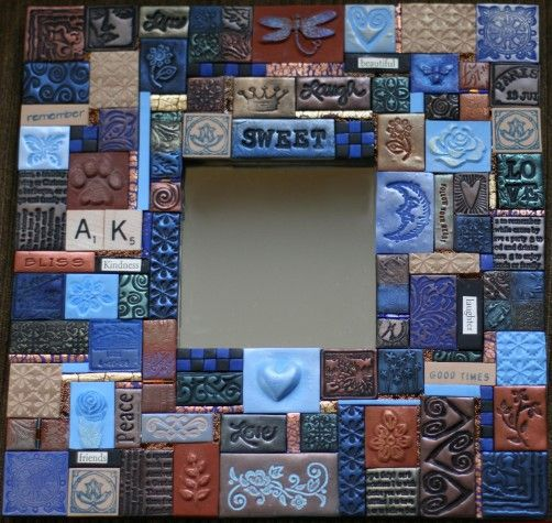 Handmade Polymer Clay Tiles Mosaic Mirror Tile Art