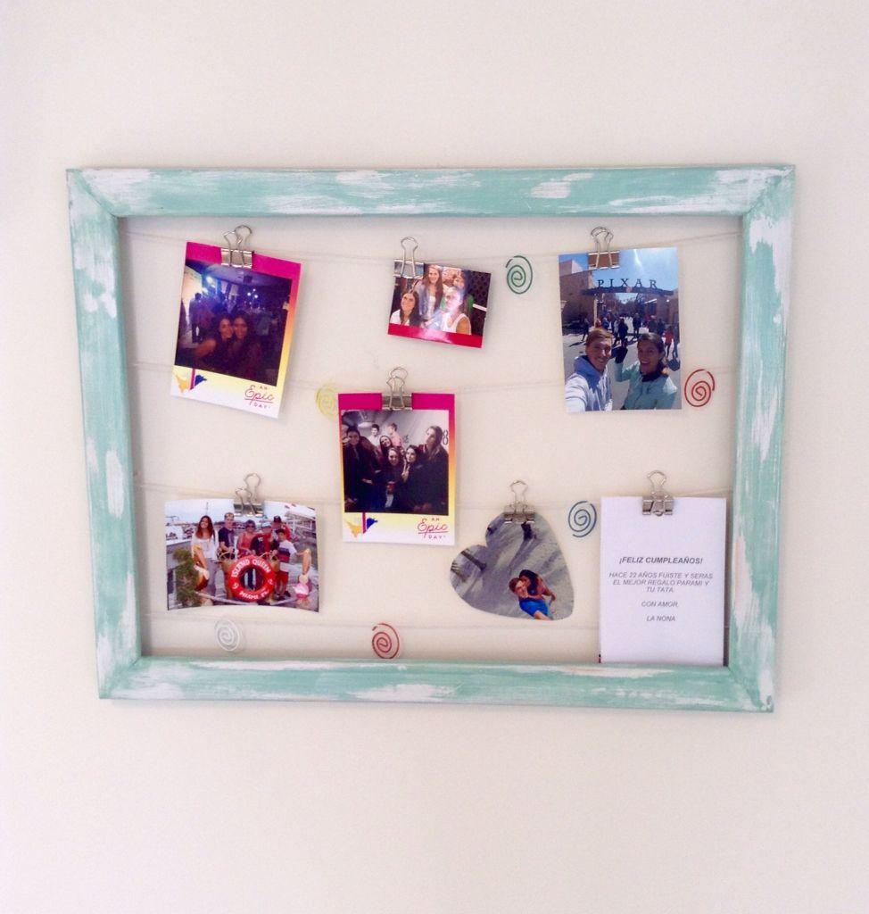 Decoración reciclaje Materiales Marco de foto antiguo Hilo o alambre ...