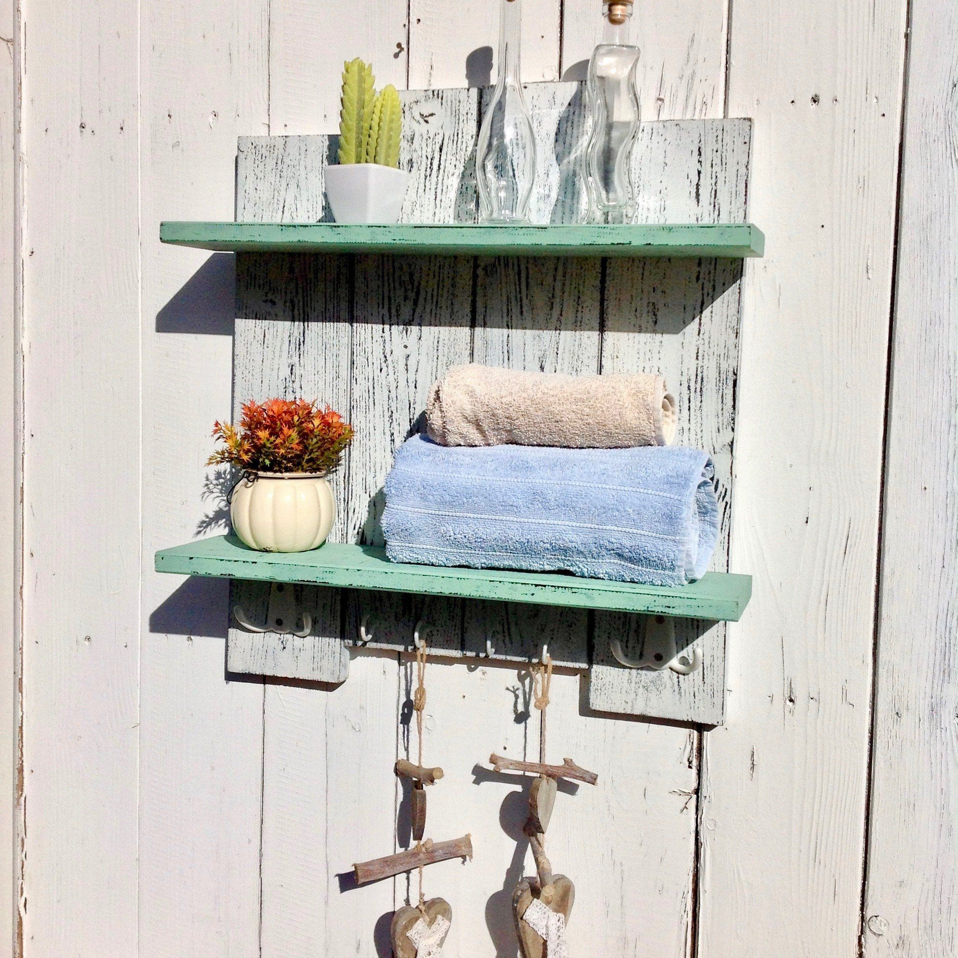 Bathroom rustic wooden shelf hook. Unit shelves. This