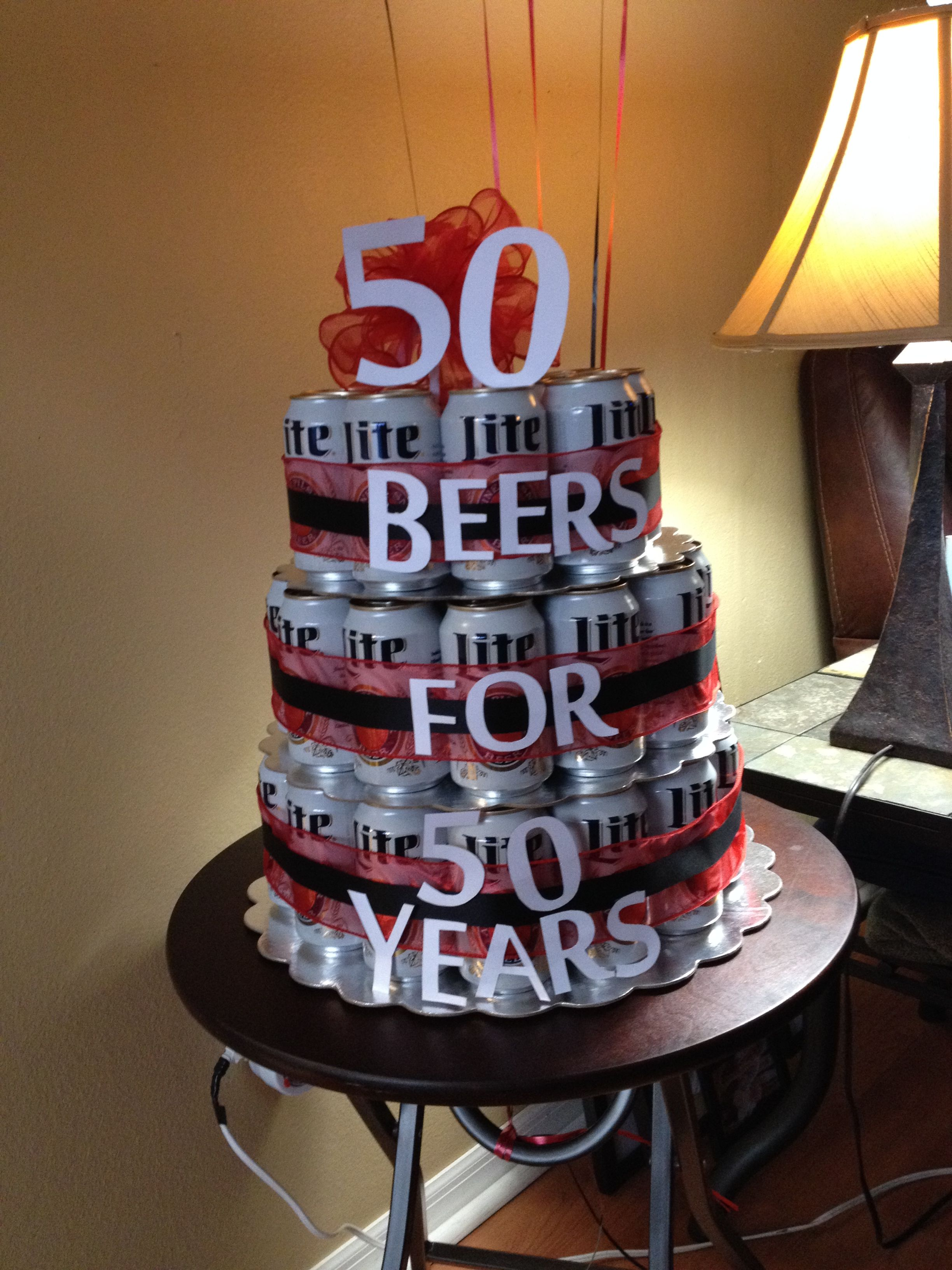 Admirable 50Th Birthday Beer Cake With Images Birthday Beer Cake Beer Personalised Birthday Cards Paralily Jamesorg