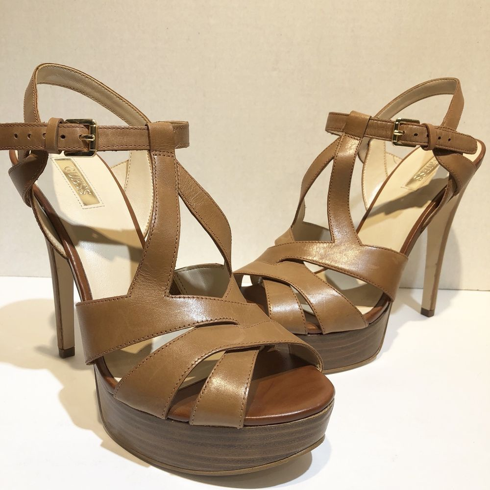 ba7e61e6fcd guess womens size 9 brown strappy platform heels  GUESS  Strappy   SpecialOccasion