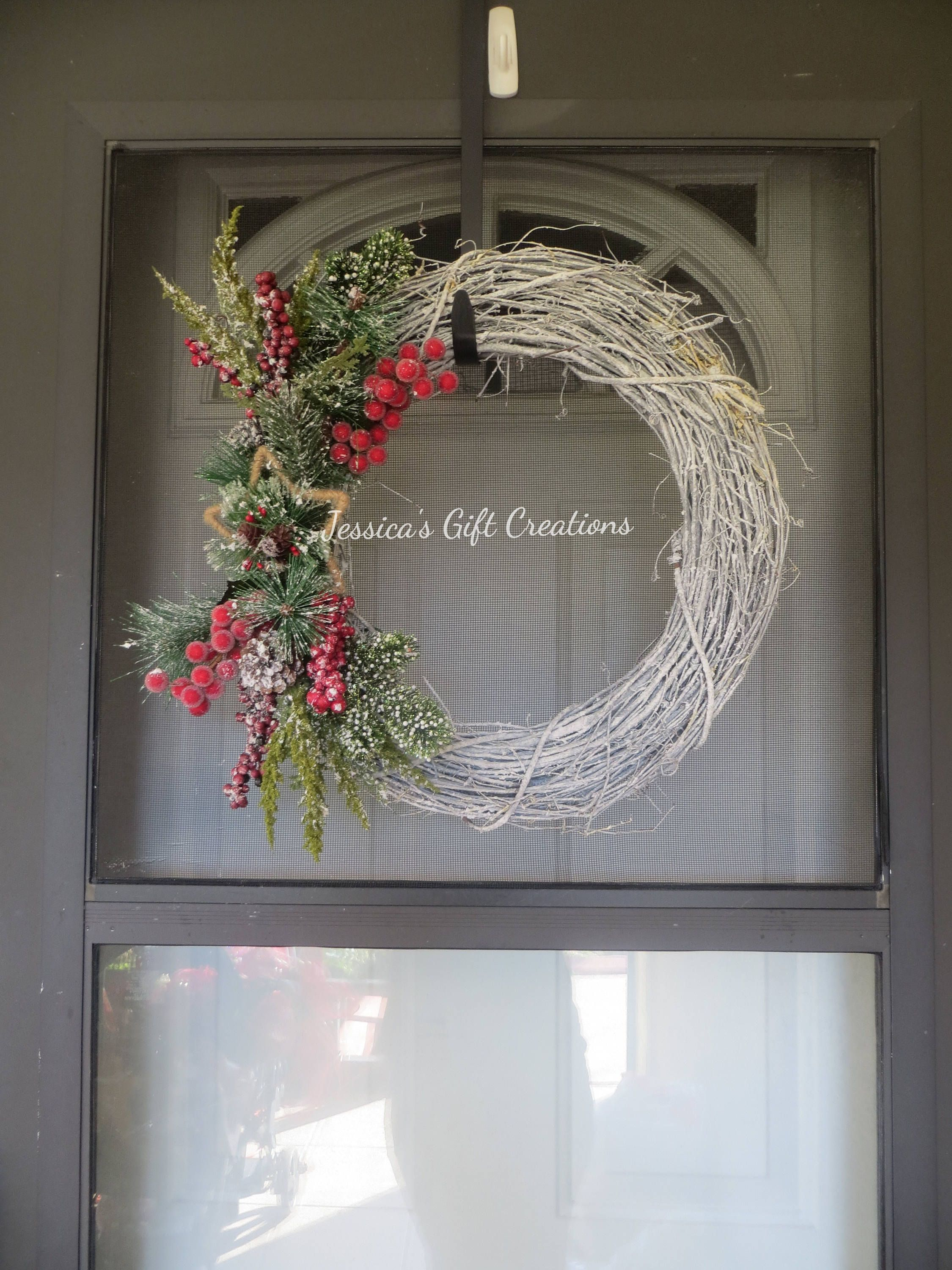 Ready To Ship Winter Grapevine Wreath/Holiday Wreath/Front Door Wreath/ Seasonal Decor